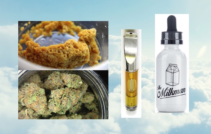 dry herbs, wax, oils, milkman e liquid